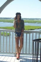 blue denim XXI shorts - olive green kensie sweater - brick red Chanel sandals