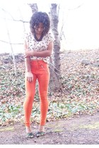 orange H&M pants - cream sparrow print H&M blouse - black Betsey Johnson heels