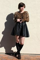 black H&M skirt - bronze leopard OASAP dress - black Ebay socks