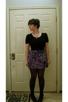 black Wet Seal dress - deep purple Ebay tights - purple elle skirt