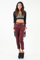 black mesh knit nectar clothing cardigan - maroon nectar clothing pants