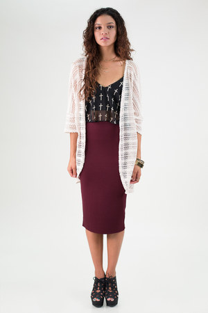 midi pencil nectar clothing skirt - open front knit nectar clothing cardigan