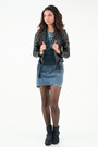 Black-buckle-ankle-qupid-boots-navy-acid-wash-denim-lush-dress