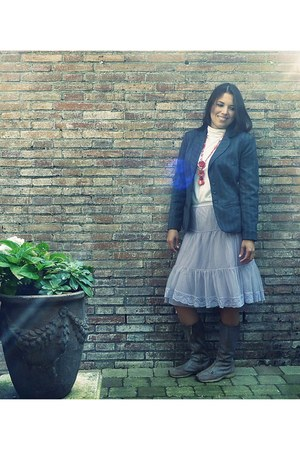 light purple Atmosphere skirt - tan Diesel boots - white blouse