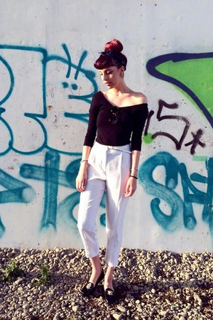black wide shoulder H&M top - ivory high waist Topshop pants