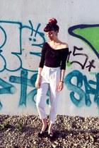 black wide shoulder H&M top - ivory high waist Topshop pants