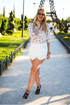 white tideshe blouse - white Zara shorts - black H&M wedges