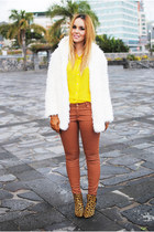 yellow Zara blouse - brown Zara boots - white Rosewholesale coat