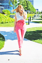 red Zara heels - white Zara blouse - bubble gum kling pants