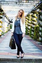 white Zara blazer - navy suiteblanco jeans - black Zara bag