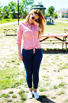 red suiteblanco sunglasses - blue suiteblanco jeans - red Pimkie blouse