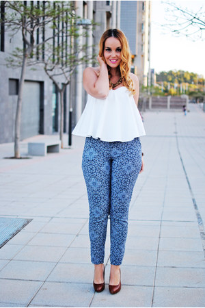 white Zara blouse - crimson Zara heels - navy c&a pants