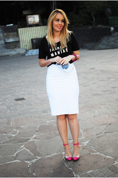 black Mango shirt - white Zara purse - white Zara skirt