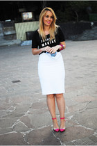 white Zara purse - black Mango shirt - white Zara skirt