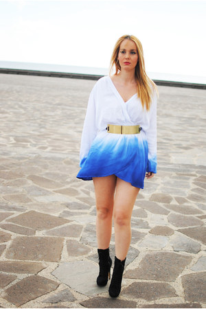 black Bershka boots - blue inlovewithfashion dress - black suiteblanco belt