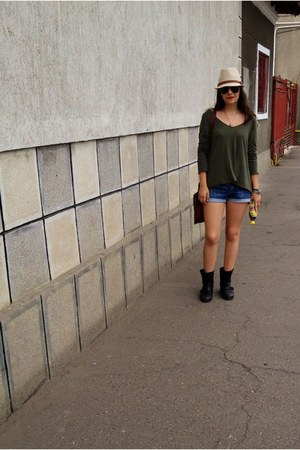BSB blouse - black Bershka boots - beige Pimkie hat - brown Aldo bag