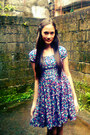 Deep-purple-floral-dress-vintage-dress