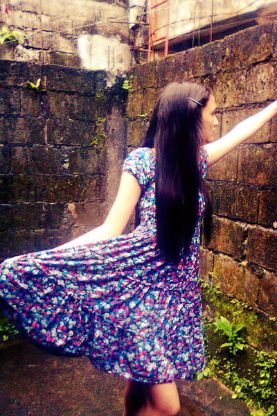 deep purple floral dress vintage dress