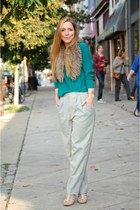 silk blouse - high waisted pants - fur collar accessories