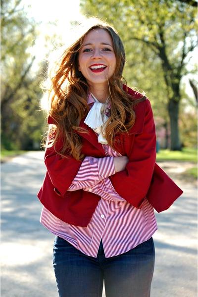 bow blouse - stripes blouse