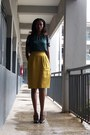 Black-select-shoes-dark-green-boho-qs-top-mustard-vipel-skirt