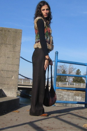 dark brown united colors of benetton pants - Thrift Store vest - tawny thrifted