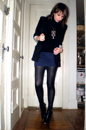 black Zara blazer - black ankle boot Daffys boots - blue kensie dress