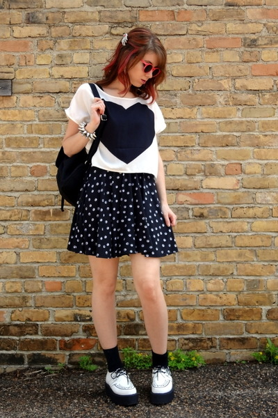 white creepers TUK shoes - black polka dot material girl dress