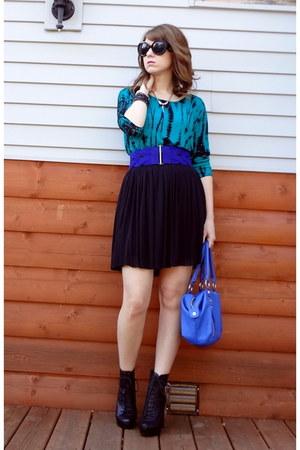 teal tie-dye Forever 21 top - black mesh overlay Vince Camuto skirt