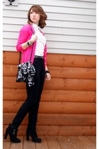 hot pink Old Navy cardigan - white polka dot H&M blouse - black BDG pants
