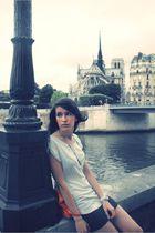 white Gap t-shirt - black whistles skirt - orange Club Monaco purse - white Oasi