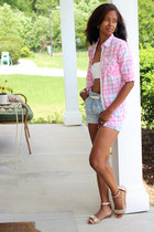 bubble gum plaid Walmart blouse - studs Enzo Angiolini sandals