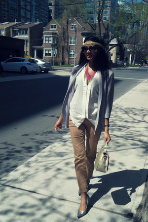 silver H&M blazer - Forever 21 bag - Urban Outfitters sunglasses - H&M blouse