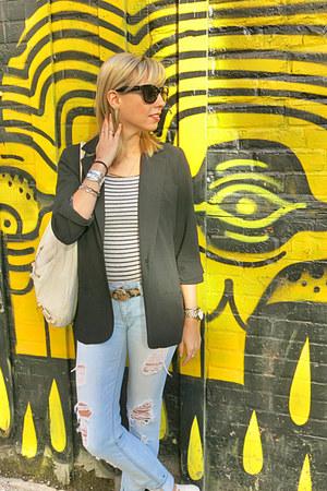 white vintage boots - light blue Topshop jeans - black Forever 21 blazer