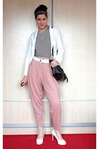 pink just female pants - black Hanna Darsa blouse - white Koton jacket - black Q