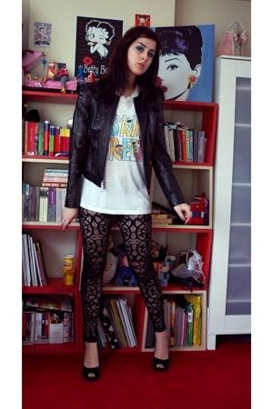 Topshop leggings - Pull and Bear t-shirt - Beymen jacket - shoes