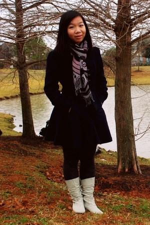 cream boots - navy Forever21 coat - dark gray tights - beige scarf