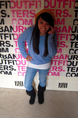 American Apparel sweater - American Eagle shirt - thrifted hat - PacSun jeans -