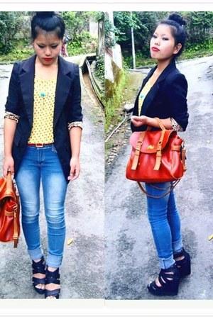 Mango blazer - bag - Ebay wedges - top - Forever21 necklace - pants