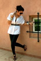 white Reiss blouse - Topshop leggings - Jimmy Choo shoes - DIY belt