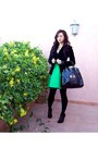 Black-velvet-zara-blazer-black-leather-braccialini-bag-teal-flowy-reiss-skir