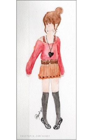 burnt orange pleated skirt - gray knee high socks - white zebra flats