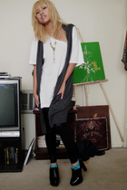 white American Apparel shirt - gray Walmart vest - black American Apparel tights
