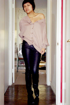 slouchy batwing H&M sweater - black thrifted shoes