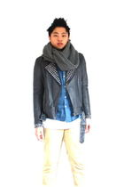 gray H&M jacket - blue acne shirt - white American Apparel t-shirt - beige acne