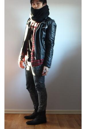 H&M scarf - Mads Nrgaard jacket - Filippa K t-shirt - Cheap Monday jeans - Rizzo