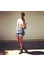 light pink corset shirt - dark gray boots - sky blue high waisted shorts