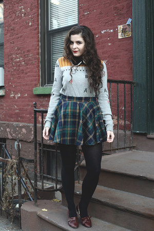 teal plaid Chicwish skirt - silver Urban Outfitters sweater