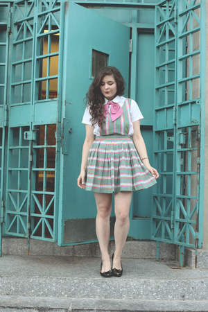 bubble gum bow tie tie - aquamarine Pinafore Dress dress