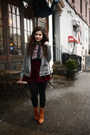 Heather-gray-grey-bella-luxx-blazer-brick-red-velvet-chicwish-skirt